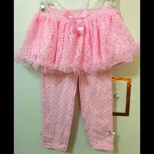 Pink tutu with leggings and silver polka dots